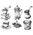 Coffee icons hand drawn set vector image vector image