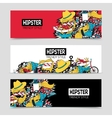 Hipster 3 interactive horizontal banners set vector image vector image
