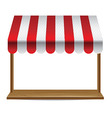 store window with striped awning - vector image