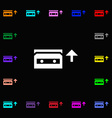 audio cassette icon sign Lots of colorful symbols vector image