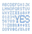 Blue digital font numbers letters and planets vector image
