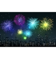 Fireworks on city night scene vector image