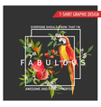 Floral Graphic Design Pomegranate and Parrot Bird vector image