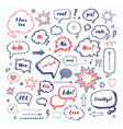 hand drawn set of speech bubbles vector image