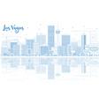 Outline Las Vegas Skyline with Blue Buildings vector image