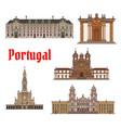 portuguese travel landmark thin line icon set vector image