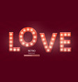 retro sign with lamp love banner vector image