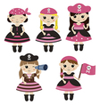 Set of cute cartoon girl pirates vector image