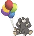 The elephant calf and birthday balloons Cartoon vector image
