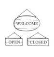 welcome open closed plank sign set vintage doodle vector image