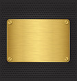 Golden texture plate with screws vector image