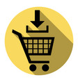 add to shopping cart sign  flat black icon vector image