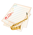An empty musical paper with a saxophone vector image vector image