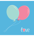 Two flying balloons Love card vector image