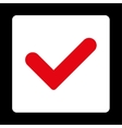 Yes flat red and white colors rounded button vector image