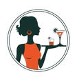 An of a waitress holding cocktails vector image