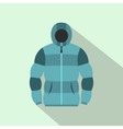 Blue hoodie icon flat style vector image