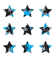Grunge Black And Blue Stars Collection vector image