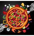 italian pizza ingredients on dark backround top vector image