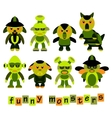 Set of colorful cartoon funny monsters vector image