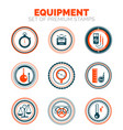 set of measure equipment premium design stamp vector image