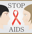 stop aids concept with faces of man and woman vector image