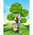 A monkey with a blue flower sitting under the tree vector image vector image