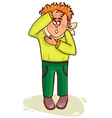 Ill little man complains about fever and headache vector image vector image