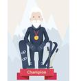 Senior man winter sports champion concept vector image vector image