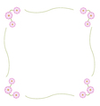 Fuchsia and White Cosmos Flower Frame vector image