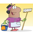 African American Woman Cleaning Lady vector image