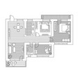 architecture plan with furniture in top view vector image