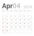 calendar planner april 2018 week starts sunday vector image