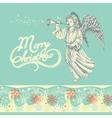 Christmas angel greeting card vector image