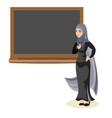 muslim woman teacher standing in front of vector image