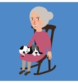 old lady woman senior with cat sleeping in her lap vector image