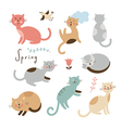Set of cartoon cute cats vector image