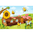 honey bees and wooden house vector image