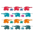 Funny Graphic Elephants Herd Collection vector image