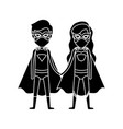silhouette black front view superhero couple with vector image