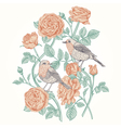 vintage card with roses and birds vector image