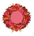 autumn wreath with red roses and ears of wheat vector image