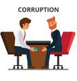 businessman giving bribe money corruption vector image
