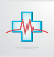 medical cross with heart rhythm vector image
