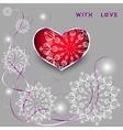 Red heart with laces and thin ribbons vector image
