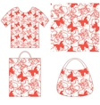 Seamless Pattern Butterflies and Hearts vector image