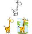 Giraffe Cartoon Mascot Character Collection Set vector image vector image