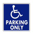 Handicapped parking sign vector image