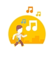 man listening to music while traveling on city vector image