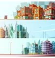 City Skyline 3 Horizontal Banners Set vector image